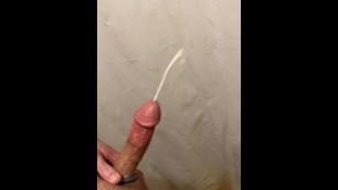 Cumshot and Cum Leak from HARD WHITE COCK!! Edged on the Drugs