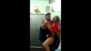 Aunty fucking standing and kissing hugging