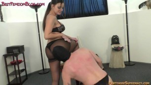 Femdom foot domination trample and hard punching
